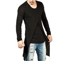 Wholesale T Shirt Irregular - 2017 Men Autumn Winter Hip Hop Streetwear Slim Fit Long Sleeve T Shirt Mens Fashion Irregular Black Pullovers ZL3394