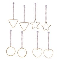 Wholesale Star Long Pendant - 2017 fashion burst combination of earrings love five-pointed star geometric shape pendant earrings, long earrings four-piece