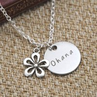 Wholesale American Meaning - 12pcs lot Ohana Means Family necklace Inspired by Lilo & Stitch Silver crystals for women or girls