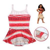 Wholesale Girls Swimdress - Girl's Cartoon Princess Moana One Piece Swimwear 2017 Summer Cotton Swimsuit Dress Beach Wear Clothes Swimdress Bathing Suit Swimwear