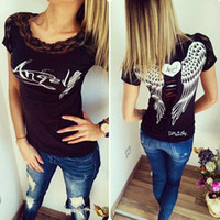 Wholesale Back Wings - S-XXL Summer Fashion Women's T- shirt Back Hollow Angel Wings T-shirt Tops Woman Casual Lace Short Sleeve Tops T- shirts Clothing