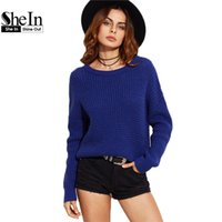 Gaufre Bleue Pas Cher-Grossiste- SheIn Automne 2016 Femmes Vêtements Femmes Loose Pullover Sweater Femmes Bleu Drop Shoulder Waffle Knit Sweater