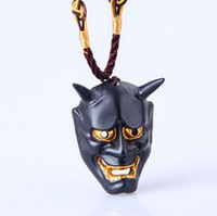 Wholesale Masquerade Terror - Wholesale- Black white Evil Oni Noh Hannya Mask Necklace Theme Resin Masquerade Party Terror Masks Necklaces