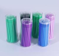 Wholesale micro brush swabs resale online - 100Pcs Hot Lint Disposable Makeup Brushes Individual Lash Removing Tools Swab Micro brushes Eyelash Extension Tools