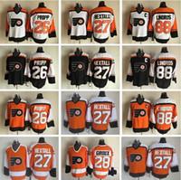 Wholesale Parent Jersey - Men Throwback 16 Bobby Clarke Jersey Philadelphia Flyers Vintage 1 Bernie Parent 7 Bill Barber 8 Dave Schultz Stitched Hockey White Black