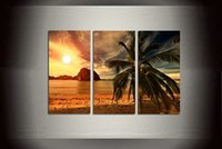 Wholesale Large Wall Pictures For Sale - Gift 3 Panel Hot Sale Modern Home Decor Large Sunset Landscape Contemporary Beach HD Picture Print On Canvas Wall Art for Living Room