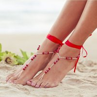 Wholesale Cheap Barefoot Sandals - Cheap anklet sandals red ribbon imtation pearl anklets barefoot sandal foot jewelry beach design for girls
