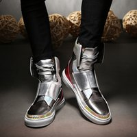 Wholesale Patent Leather Dance Shoes - Men High Top Fashion Hip-hop Dance shoes Lace Up Trainers patent Leather Outdoor Casual Flats Shoes Mans sapatos masculinos