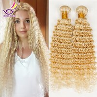Wholesale Curly European Color 613 - Wholesale 10-28inch bleached blonde color #613 russian brazilian peruvian indian malaysian virgin hair deep curly human hair extensions 4pcs