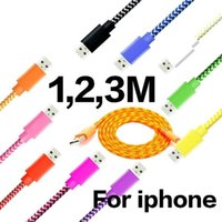 Wholesale Ipad Charger 3m - FeelinGirl Multicolor Braided 1M 3FT, 2M 6FT, 3M 10FT USB Data Sync Cable Charger Line for iPhone   iPad   iPod Touch