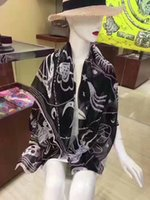 Wholesale Satin Headbands Blue - 2017 women new fashion luxury brand satin scarves silk scarf skull ladies scarfs shawls foulard femme schal luxus marke fulare mujer echarpe