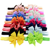 Wholesale Ribbon Baby Headbands - 20 Colors Baby Hair Bows Ribbon Bow Headbands for Girls Children Hair Accessories Kids Elastic Hairband Princess Headdress Free Ship KHA190