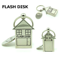 Wholesale Drive Housing - 64gb 1258gb mini metal love house usb flash drive disk keychain memory stick computer gift pendrive 32gb Pen drive