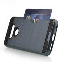 cas de cellules lg achat en gros de-Livraison Gratuite Pour LG G6 Cas Carte Slots Étui portefeuille TPU + PC Titulaire de la Carte Hybride Cas de Téléphone portable Pour LG g5