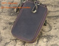 Wholesale key wallets for sale - Refined Car Keys wallets first layer crazy horse leather one zipper luxury hardware cm cards wallets factory prices sale