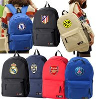 Wholesale Plain Red Fan - Fashion Wholesale Real Madrid Chelsea bags football soccer back pack outdoor sports bag soccer fans souvenir bag backpack sport milan bags