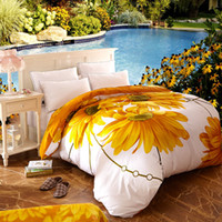 Wholesale Sunflower Sheets King - 100 cotton oil printing thread count egyptian cotton sheet set Yellow SunFlower 3D bedding Set Queen King Size Duvet Cover Sets