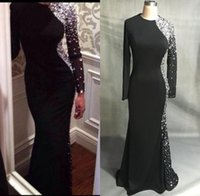 Wholesale Evening Dresses Mermaid Crystals - New Sexy Long Sleeves Black Jersey Mermaid Evening Dresses 2016 Beaded Crystals Floor Length Prom Gowns