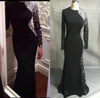 jersey negro vestidos mangas al por mayor-Nuevos mangas largas sexy Jersey negro Vestidos de noche de sirena 2019 Cristales de cuentas hasta el suelo Vestidos de baile