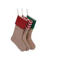 волоконно-оптическая лампа с изменением цвета оптовых-2017 новый высокое качество холст рождественский чулок подарочные пакеты Рождество чулок рождественские декоративные носки сумки бесплатная доставка