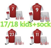 Wholesale Children S Suit Dress - New 2017 2018 children's soccer dress children red jersey OZIL GIROUD RAMSEY ALEXIS LUCAS kids short sleeve suit print name and number