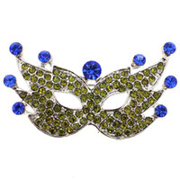 Wholesale Mask Brooches - Green Blue Masquerade Mask Pin Brooch   Mask Broach for Masquerade 1.75-1inch