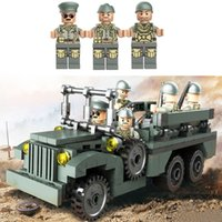 Wholesale Military Car Models - WW2 Military Classic US Personnel Carrier Vehicle Car Model Buidling Blocks Bricks Sets Model Educational Assembled Toys Children Gift