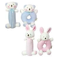Cloth blue bear rattle - Baby Circle Rattles Toy set Cotton Pink Blue Cute Rabbit Bear Plush Doll Infant Baby Crib Stroller Newborn Soft Play