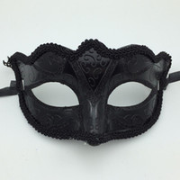 Wholesale Mardi Gras Prom Dresses - Sexy Black Half Face Masquerade Party Masks Fancy Dress Costume Hallonween mask Carnival Mardi Gras mask opera prom mask