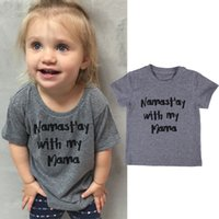 Wholesale Toddler Boys Halloween Shirts - 2017 Fashion Baby Toddler Kids Clothing Girls Boys Short Sleeve Gray Letter Print T-shirt crew neck Cotton Tee Tops 1-6T