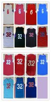 jordan light achat en gros de-Men Basketball Retro Cilppers # 6 JORDAN # 32 GRIFFIN Blanc Rouge Noir Light / Blue Jerseys Short