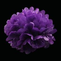 çiçekler çinisi toptan satış-Düğün 40 Adet 20 Cm (8 Adet;) Pom Pom Doku Kağıt Pom Poms Yapay Çiçek Topları Dekorasyon Kağıt Topları Parti Deco (China (Mainland))