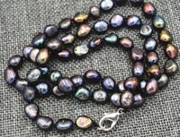 "Wholesale pearl akoya - 18 ""Rare! 7-8MM black Akoya Cultured Pearl Baroque Necklace lobster clasp AAA"