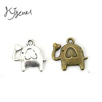 Wholesale Crafts Jewelry Elephants - Antique Bronze Silver Plated Elephant Charms Pendants for Pandora Jewelry Making Accessories Craft DIY Handmade 15x14mm