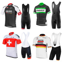 Wholesale Set Cycle Jerseys - Hot New 2017 Cycling Jersey Short Sleeve Summer Men Cycling Clothing+ Cycling Bib Shorts Set Maillot Giant  IAM  lOTTO Bike Clothes