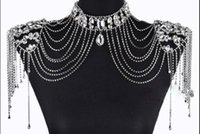 Wholesale Jewelry Box Lace - 2017 Bling Bling Shiny Shoulder Chain Bride Jewelry Wedding Accessories Lace Shoulder to Shoulder Gift Box With Earrings