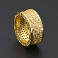Wholesale Gold Band Pinky Ring - Top Quality Micropave CZ Crystal Rings Men's Hip Hop Bling Finger Rings Iced Out Pinky Ring Gold silver fine jewelry