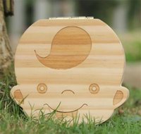 Wholesale Box Gift For Baby - Wholesale-Tooth Box for Baby Save Milk Teeth Boys Girls Image Wood Storage Boxes Creative Gift for Kids Travel Kit L001