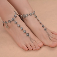 Wholesale Ladies Retro Sandals - 2017 New Fashion Jewelry Hot Lady Decorated Retro Beaded Ankle Accessories Barefoot Beach Seaside Jewelery Barefine Sandals Anklets