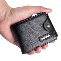 Wholesale Wholesale Mens Handbags - Wholesale- New Brand Fashion Mens ID Card Coin Holder Billfold Zip Purse Wallet Handbag Clutch PU Leather Small Mini Ultra-thin Wallets