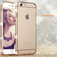 Wholesale Phone Shell Iphone 4s - For iphone 7 7plus 6s 6splus 5s 4s 6 6plus Rhinestone plating Mobile phone shell case Transparent mobile phone cover