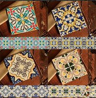 Wholesale wallpaper tile kitchen pice cheap beautiful artistic PVC mediterranean style varied exotic pattern background sticker