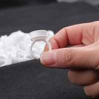 Wholesale Plastic D Rings - 50pcs Lot Disposable Glue Rings Glue Holder White Plastic Holders With Free Shipping