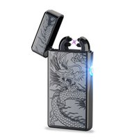 Wholesale Slim Lighters - Cigar Cigarette Novelty Usb Rechargeable Electric Arc Lighters Personalized Cross Double Pulse Slim Lighter No Gas Smokeless Hot Sales