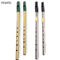 Wholesale dizi d online - Irish Whistle Flute Feadog C D Key Tin Whistle Hole Clarinet Flute Nickel Plated Flauta Brass Musical Instrument dizi