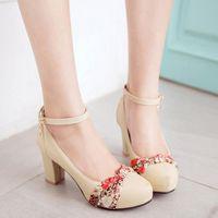 Wholesale High Top Platform Shoe - Top Fashion Women High Heel Dress Shoes Chunky Heel Buckle Straps Platform Non Slip Round Toe Pumps Women Shoes Size 34-39
