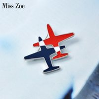 Wholesale metal lapel badges - Wholesale- Miss Zoe Cartoon Stripe Aircraft Double Planes Metal Brooch Pins Collar Button Pin Denim Jacket Lapel Pin Badge Gift Jewelry