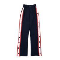 Wholesale Pantalones Mujer - 2018 Fashion Design Women Pants Top Brand Side Button Striped Split Women Straight Trousers Elastic Waist Pantalones Mujer