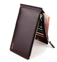 Wholesale Pure Leather Wallets - New men's pure color pu leather large capacity mobile phone bag card package 3 in 1 thin double zipper wallet