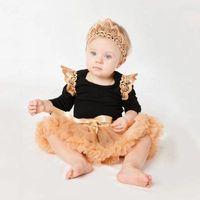 Wholesale Kids Headband Brand - Baby Girls Rompers 2017 Infant Girl Lace Jumpsuit+TUTU Skirt+Headband 3pcs Sets Girl Infant Fluffy Coat Costume 0-2Y Kids Clothes Suit T002